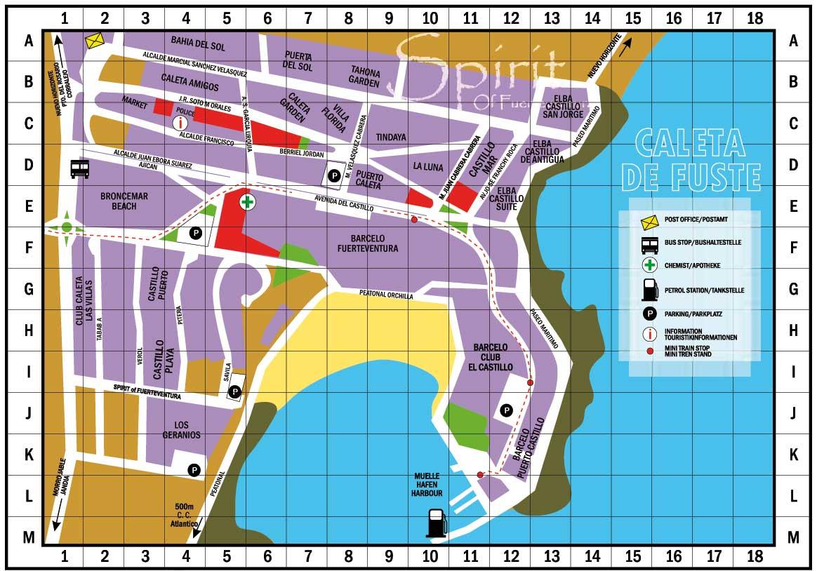 Caleta De Fuste Map Street Map Caleta   Fuerteventura Caleta De Fuste Map